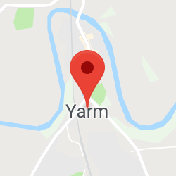 Cropped Google Map with pin over Yarm